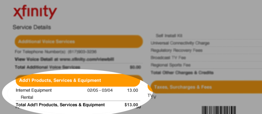 Xfinity cable bill showing $13 rental fee